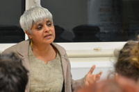 Southall Black Sisters Pragna Patel addresses students
